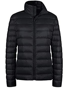Wantdo Women s Packable Ultra Light Weight Short Down Jacket Black X-Large