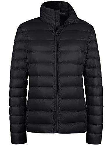 Wantdo Women s Packable Ultra Light Weight Short Down Jacket Black Small