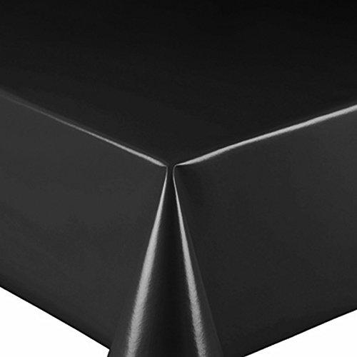 Wachstuch UNI Schwarz Glatt · Eckig 140x70 cm · Länge & Farbe wählbar LFGB · abwaschbare Tischdecke Gartentischdecke Einfarbig