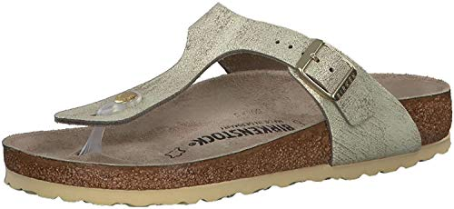 BIRKENSTOCK Gizeh Damen Sandalen, Washed Metallic Cream Gold, 38 EU
