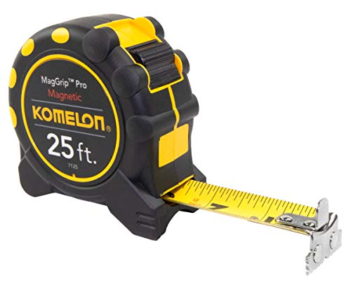 "Komelon 7125; 25' x 1"" Magnetic Monster MagGrip Tape Measure, Black/Yellow"