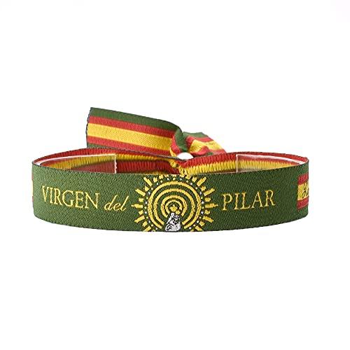 BDM Pulsera de Tela Verde de la Virgen del Pilar, España, Ajustable para Hombre y Mujer.
