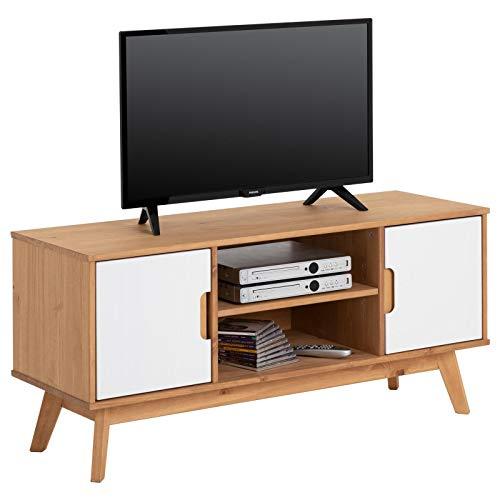 IDIMEX Lowboard Tivoli im skandinavischen Design, Fernsehtisch Fernsehschrank im nordischen Stil, aus massiver Kiefer, 2 Türen, gebeizt/weiß