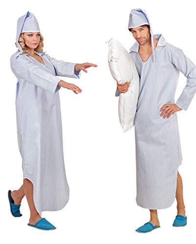 Horror-Shop Kostüm Nachthemd mit Streifen für Fasching XL