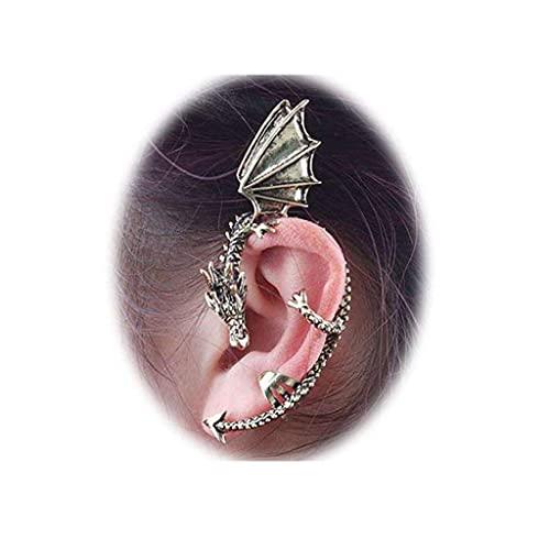 Uteruik Moda para Mujer Pendiente de dragón Oriental Pendientes con Clip de puño para la Oreja