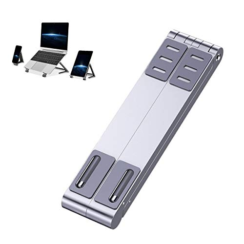 HXXXIN Laptop Stand, Laptop Aluminum Alloy Stand Portable Mini Computer Lifting Cooling Bracket, Folding Office Bedroom at Any Angle, (Silver),Silver