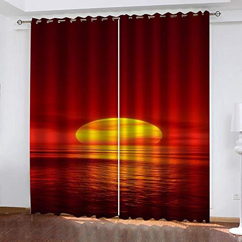 2 Stück Blickdicht Gardinen mit Ösen H 183 x B 117 cm Verdunklungsvorhänge für Schlafzimmer Wohnzimmer Geräuschreduzierung, Sonnenuntergang über dem Meer