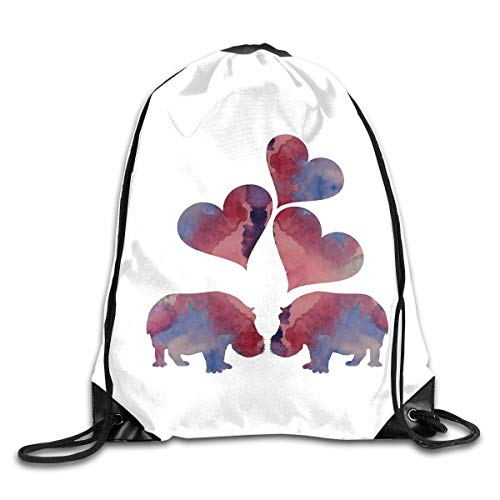 Drawstring Bag Rucksack Drawstring Backpack Hippo Art for Picnic Gym Sport Beach Yoga Drawstring Sackpack Bag 36X43CM