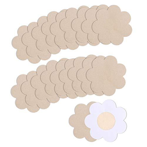 YouGa Nipple Cover - 10/20 Paar Einweg Brust Aufkleber, Wasserdichte Unsichtbare Einweg Nippel Cover Selbstklebend Concealer Pads für Frauen Mädchen Party (Nackte Blume-P)