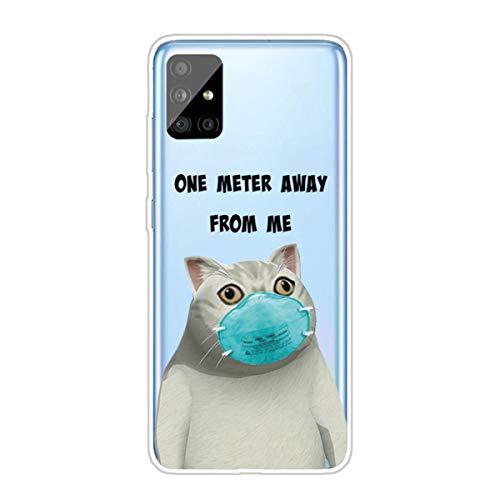Nadoli Transparent Silikon Hülle für Samsung Galaxy A41,Durchsichtig Klar Lustig Kreativ Leicht Dünn Weiche Stoßfest Handyhülle Schutzhülle mit Maske Katze Muster