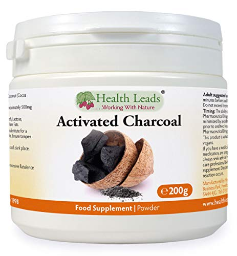 Activated Charcoal Powder 200g (Cocos nucifera), Food Grade, 100% Natural, for Teeth whitening, Toothpaste & More, Made from Coconut Shells, Made in Wales