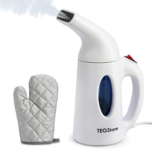 TEQStone Dampfglätter Steamer 1 Minute Schnell Aufheizen, Reisebügeleisen Dampfbürste Mini Bügeleisen für Kleidung, mit Hitzebeständigem Handschuh