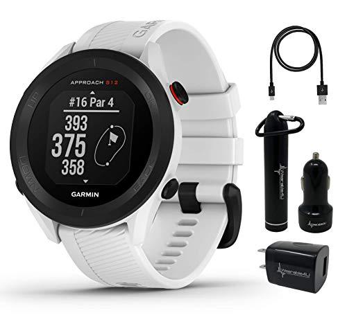 Garmin Approach S12 Premium GPS Golf Watch, White with Wearable4U Power Pack Bundle