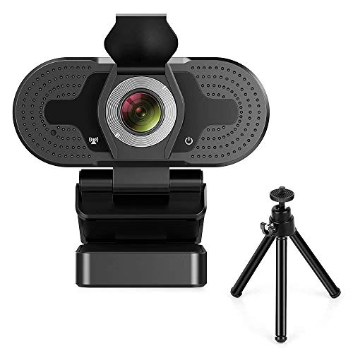 TROPRO Webcam for PC Full HD 1080P Computer Camera with Cover USB Web Cam with Microphone Cover Expandable Tripod Streaming Camera for Skype Zoom Schwarz Mittelschwarz