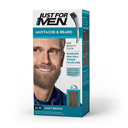 Just for Men Brush-in Mustache, Beard & Sideburns, Light Brown - Kit, 1count