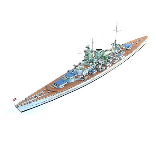 Exterior Puzzle Model Toys, 1/400 Scale Kriegsmarine Scharnhorst Battleship Kids Toys and Gifts, 23Inch Interior
