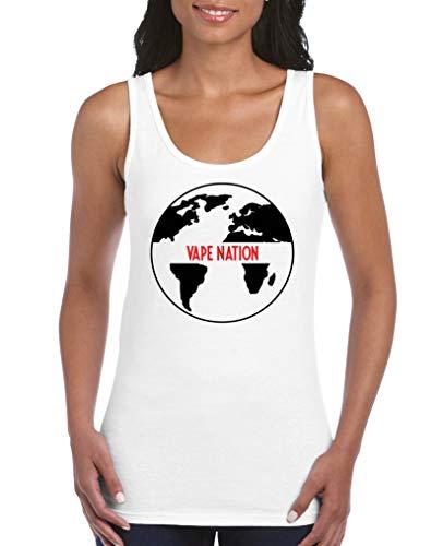 Comedy Shirts - Vape Nation Globus - Damen Tank Top - Weiss/Schwarz-Rot Gr. L