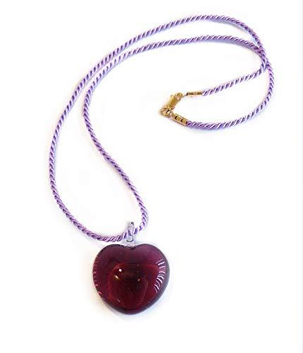 VENEZIA CLASSICA - Collar de mujer con colgante de corazón de cristal de Murano original, cordón de viscosa y plata, fabricado en Italia con certificado violeta
