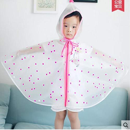 NHDYZ Regenmantel Kinder Semi Transparent Wasserdicht Mit Kapuze Regenmantel Kinder Regen Ponchos Cartoon Regenbekleidung Für Kinder, D, M