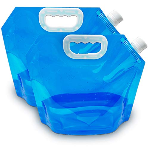 Gxhong Bolsas de agua plegables, 2 unidades, bidones de agua plegables, recipiente de agua potable, recipiente reutilizable para agua potable para exterior, camping, senderismo, picnic, barbacoa (5 L)