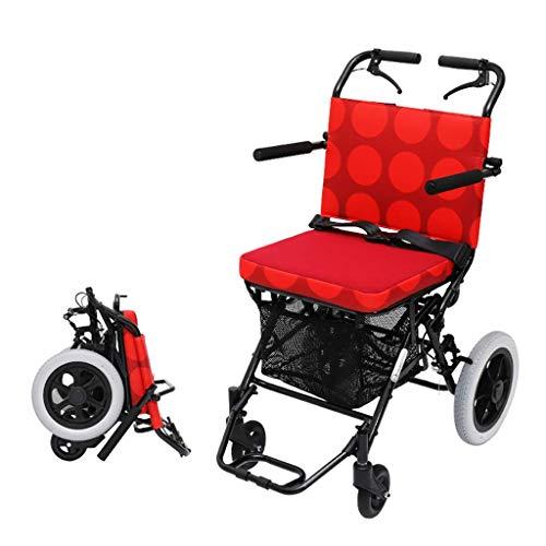 HYRL Elfacher, Faltbarer Leichtfahrwagen, Multifunktionale Doppelbremse, kostenloser, aufblasbarer Trolley, Einkaufswagen/Walker/Trolley Scooter,Red