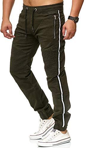 Herren Jogg-Jeans Männer Freizeit-Hose Casual Style Jeans Jogginghosen Herren Slim Fit Jogger Vintage Sweathose Hose 3298 (32W, Khaki)