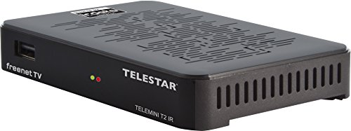 Telestar Telemini T2 IR DVB-T2 / DVB-C HD Receiver mit Irdeto Entschlüsselung (inkl. 3 Monate Freenet TV, H.265/HEVC, Kabel Epmfang,, HDMI, AV-Out,LAN, USB) schwarz