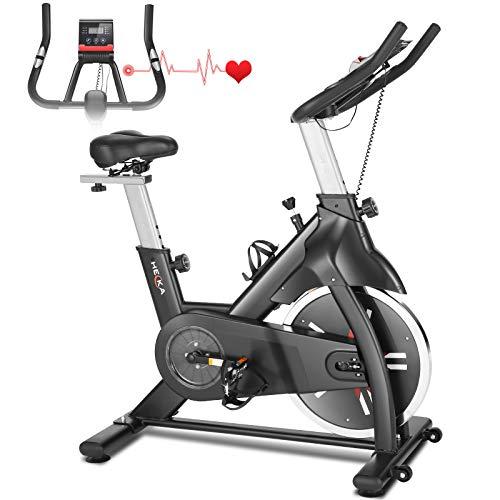 Heka Bicicleta Estática para Fitness, Bicicleta Spinning Bici Estática de Interior, Bici de Ejercicio con Rueda 18kg Resistencia Ajustable con Pantalla LCD&Monitor de Frecuencia Cardíaca, Max.200 kg
