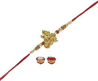 Ganesha Playing Veena with Pearl Rakhi for Brother Handmade Bracelet Rakhi for Raksha Bandhan Bhaiya Bhabhi Premium Rakhi