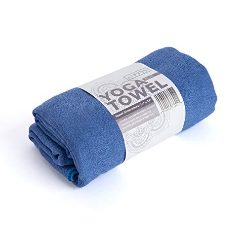 Blue Dove - Asciugamano da yoga in microfibra, 72 cm, larghezza 24 cm, antiscivolo, leggero, colore: Blu