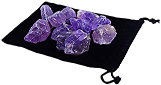 Zentron Crystals 1/2 Pound Rough Amethyst in Velvet Bag Large Raw Gemstones for Wire Wrapping, Polishing, Tumbling, Reiki and Wicca