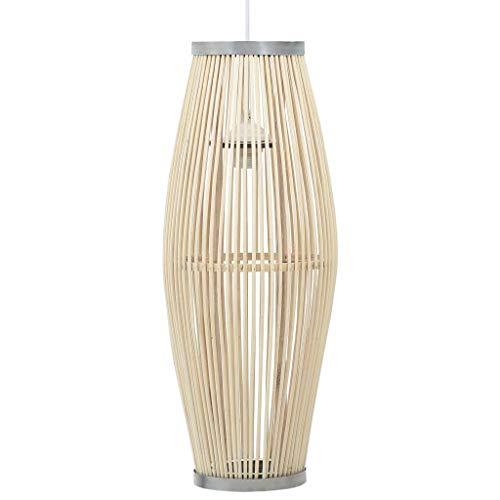 UnfadeMemory Pendelleuchte Hängelampe Deckenleuchte Weide und Metallrahmen Oval Lampenschirm E27-Fassung 40W Esszimmer Wohnzimmer Hängeleuchte ohne Leuchtmittel (Weiß 23x55 cm)