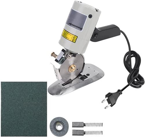 AWKAQUN Cortador de tela eléctrico industrial de 90 mm, cortador de tela redondo con afilador automático Inzision limpio, sin rebabas, sin arrugas