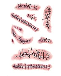 Ofertas Tienda de maquillaje: Pegatinas de patrones de la cicatriz de heridas para Halloween Adhesivos Tamaño: 10,5 x 6cm Usted puede pegarlo en el cuello, brazo o cintura, también puede cubrir cicatrices Características: Lesión de sangre realista Halloween Horror herida patrón c...