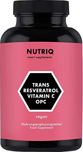 Resveratrol + OPC Extracto de Semilla de Uva + Vitamina C por NUTRIQ - 90 cápsulas veganas para 3 meses - alta dosis - fabricado en Alemania