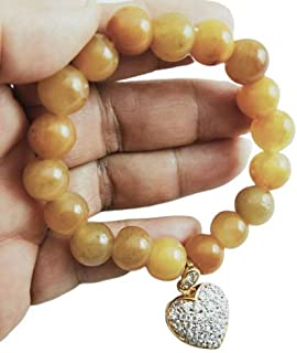 Heavens Tvcz Jade Beads Bracelet Bangle Yellow Honey Stretch Burma with 14K Gold Plated Lab Diamond Love Heart Pendant for Luxurious Quality All Occasions