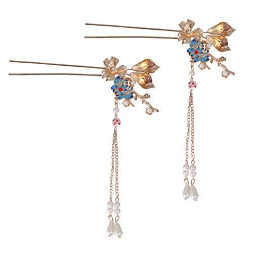 Minkissy Chinesische Haarspange 1 Paar Haarstäbchen mit Retro-Blume Haarnadel Japanische Haarnadel Vintage-Haarschmuck