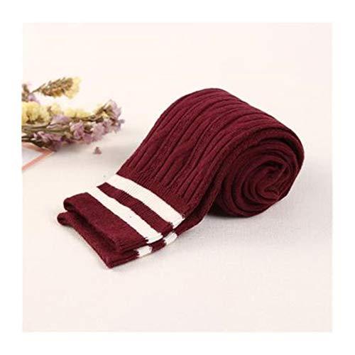 Medias calientes Moda muslo altos calcetines del viento Colegio de Mujeres algodón caliente sobre la rodilla calcetines a rayas calcetines largos for las mujeres ( Color : Red Wine , Size : One Size )