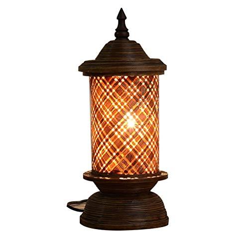 SLEVE New Chinois Vintage Style Arts et Artisanat Bambou Lampe de Table de Bar et café-Bar de Style Lampe de Bureau (Bouton E27 Switch)