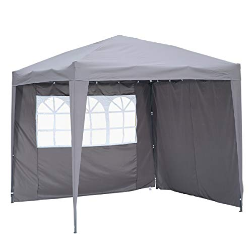 Angel Living Cenador Pop-Up Plegable 2.5 * 2.5m con 2 Lados de Telas, Gazebo con Bolsa De Transporte, Carpa Plegable para el Exterior (Gris)