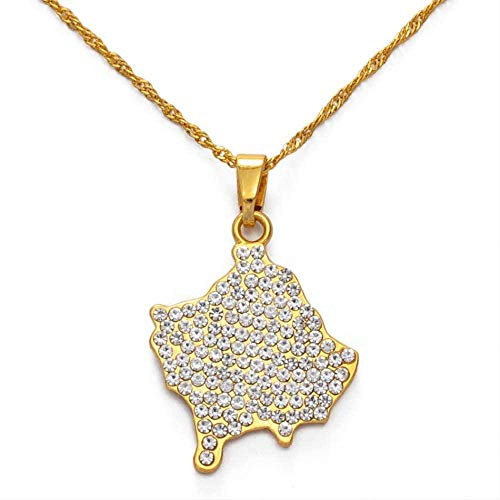 JSYHXYK Collar Collares Pendientes De Kosovo con Diamantes De Imitación para Mujeres, Niñas, Collares De Joyería De Color Dorado, 60 Cm