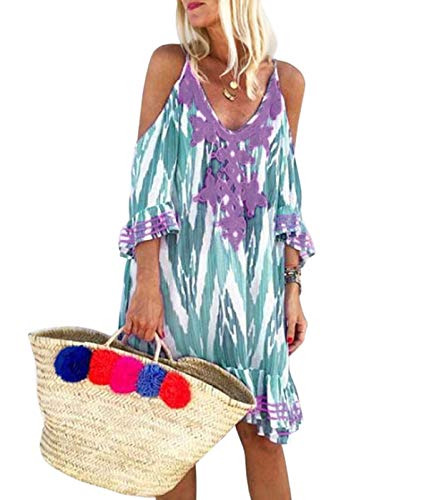 Flying.Women's Sling Bikini Cover Up Off Schouder Strand Jurk Sexy Badpakken Jurken