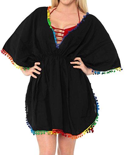 LA LEELA Halloween Costume Ropa de Playa Kimono Informal Traje de baño Traje de baño del Bikini de Las Mujeres Blusa de Encubrir Halloween Negro_M415