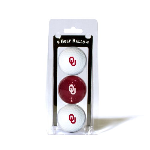Team Golf NCAA Oklahoma Sooners Regulation Size Golf Balls, 3 Pack, Full Color Durable Team Imprint