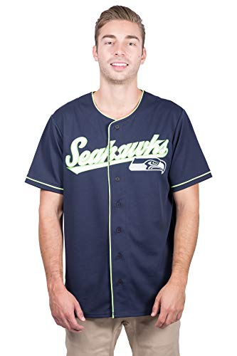 Ultra Game NFL Seattle Seahawks Mens Mesh Baseball Jersey Tee Shirt, Team Color, Large