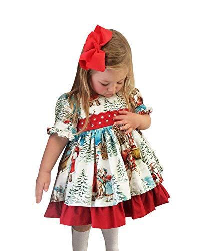 Carolilly Baby Mädchen Retro Weihnachtskleid mit Bowknot Santa Print Lolita Prinzessin Kleid (1-2 Years, Weihnachtskleid)