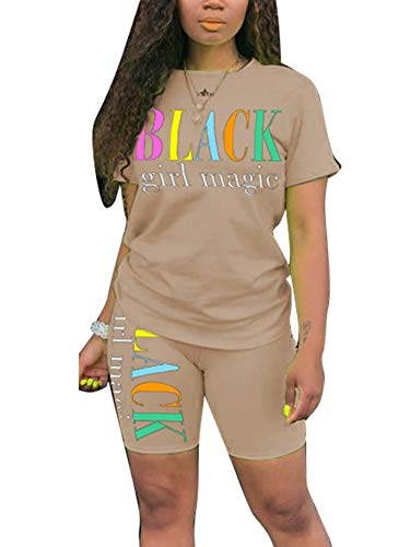 【37% OFF】 - Uni Clau Women's Letter Two-Piece Outfit Tracksuit - Casual Short Sleeve T-Shirts Bodycon Shorts Set Jumpsuit Rompers Sandy