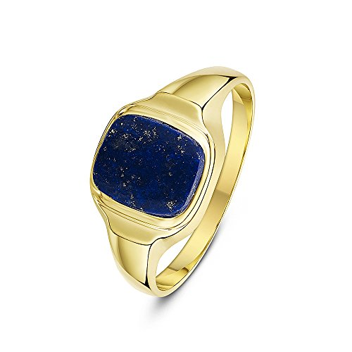 Theia Men's 9 ct Yellow Gold, Cushion Shape Signet Ring, Set with 10 x 8 mm Blue Lapis Stone, Size V