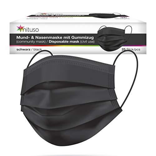 Mituso Mund- und Nasenmaske, 25er Pack, Einweg Maske in schwarz, 3-lagig Gummizug