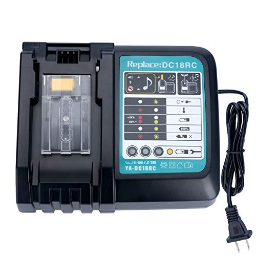 Lasica Battery Charger DC18RC Compatible with Makita 14.4V-18V LXT Lithium-Ion Battery BL1850 BL1840B BL1820 BL1815 BL1860 BL1430 BL1450 BL1830 Makita 18V Drill Battery Charger DC18RA DC18SD
